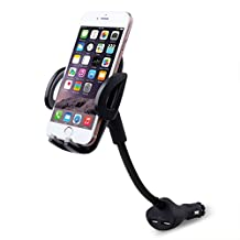 Te-Rich 2-in-1 Universal Car Cigarette Lighter Cell Phone Holder Charger Mount for iPhone, Samsung Galaxy and More Smartphones (Dual USB, 3.1A Max)