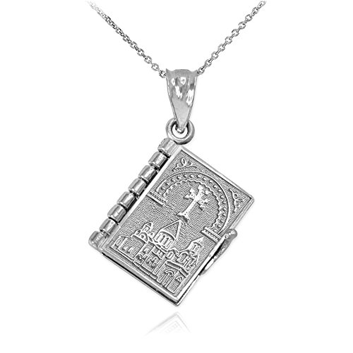 (Polished 10k White Gold 3D Armenian Holy Bible Book w/Lord's Prayer Pendant Necklace, 20