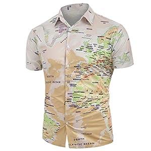 TIFENNY Camisa de Botones para Hombre, Informal, con Estampado de mapamundi, con Botones, Camiseta, Blusa de Manga Corta