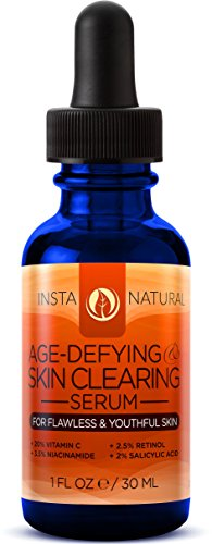 Vitamin C Serum 20% - With Retinol 2.5% Salicylic Acid 2% Hyaluronic Acid & More - The Best Natural Anti Aging & Skin Clearing Serum - Reduces Acne Wrinkles Fine Lines & Spots - InstaNatural - 1 OZ