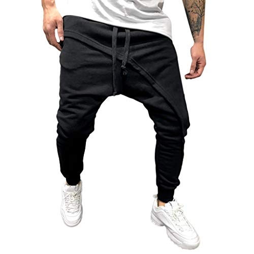 TANGSen Mens Spring Winter Joggers Solid Pants Patchwork Casual Drawstring Sweatpants Trouser Pants Fashion Trousers (Black,M) swim shirts for fat guys 9