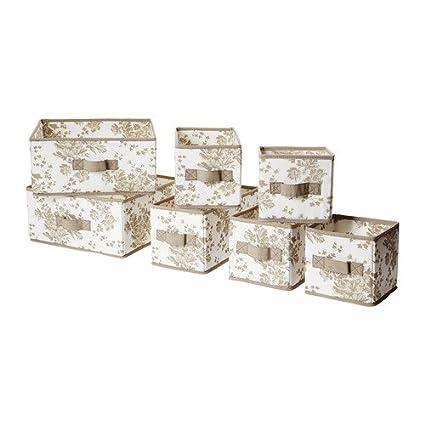 IKEA GARNITYR - Box, juego de 7, beige, flor blanca