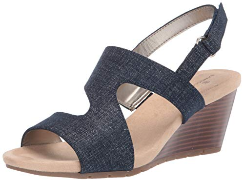 - Bandolino Women's Gannet Wedge Sandal, Denim, 9 Medium US