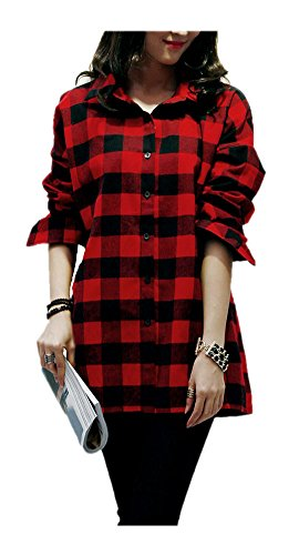 ARJOSA Vintage Checked Button Down Flannel