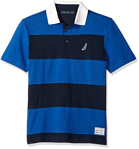 Classic Fit Striped Rugby - Nautica Men's Classic Fit Cotton Jersey Striped Polo Shirt, Monaco Blue Medium