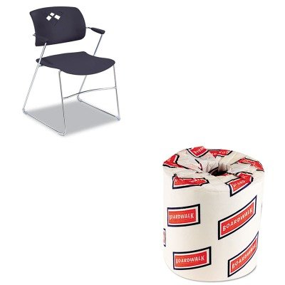 KITBWK6180SAF4286BL - Value Kit - Safco Veer Series Stacking Chair With Arms (SAF4286BL) and White 2-Ply Toilet Tissue, 4.5quot; x 3quot; Sheet Size (BWK6180) by Safco