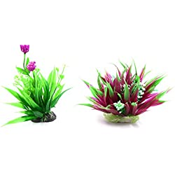 uxcell 2pcs Plastic Decorative Flower Plant Ornament Aquarium Fish Tank Decor w/ Stand