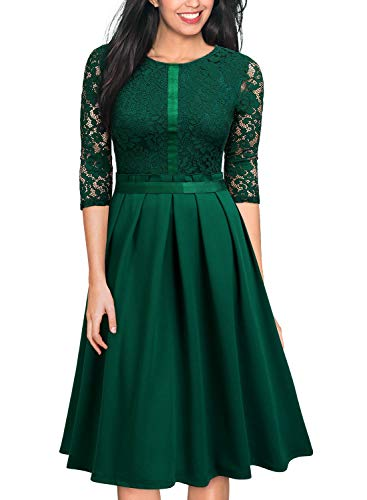 MISSMAY Women's Vintage Half Sleeve Floral Lace Cocktail Party Pleated Swing Dress Green