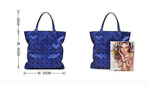 de las de 9 doblan la impresión del 9 bolsos femeninos diseñador grande noche bolsos la geométricos que laser bolsa bolsos asas tela de de escocesa mujeres señoras Gray de de del la negro qrrHw