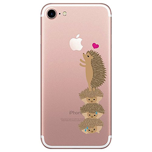Matop Case Compatible for iPhone 7 Case Clear Thin Ultra Design Soft TPU Shockproof Protective Slim Bumper No-Slip Anti-Scratch Pattern Shell Cover Fox (Hedgehog)