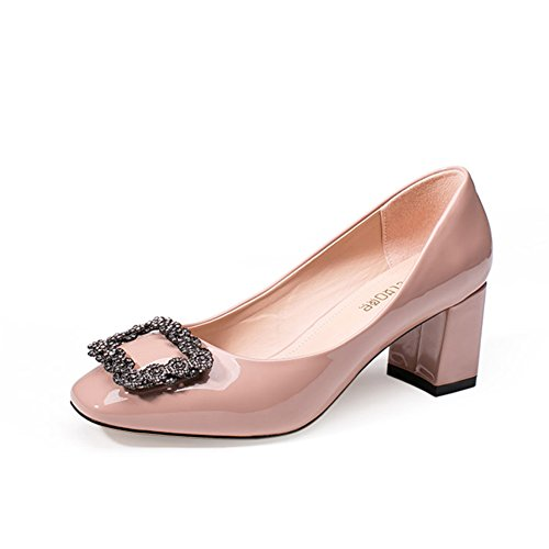 Ladies Square Head Schuhe,Raue Fersendiamond,Flacher Schuh für Frauen,Mid-Autumn Schuhe C