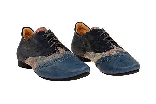 Think Guad, Zapatos de Cordones Derby para Mujer Azul