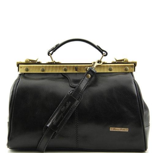 Tuscany Leather , Damen Schultertasche Schwarz schwarz