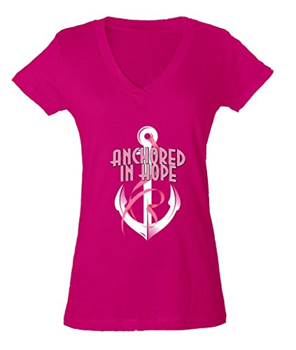 Anchored In Hope Pink Ribbon Ladies V-Neck T-shirt Breast Cancer Awareness Shirts Medium Pink b15 (Ladies Breast Pink)