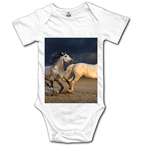 KSLIDS Baby Clothing with Two White Horses Running Funny Baby Bodysuit