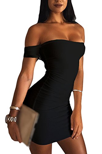 Sevozimda La Mujer Bodycon Midi Verano Sin Tirantes Vestido De Fiesta Mini Slim Black