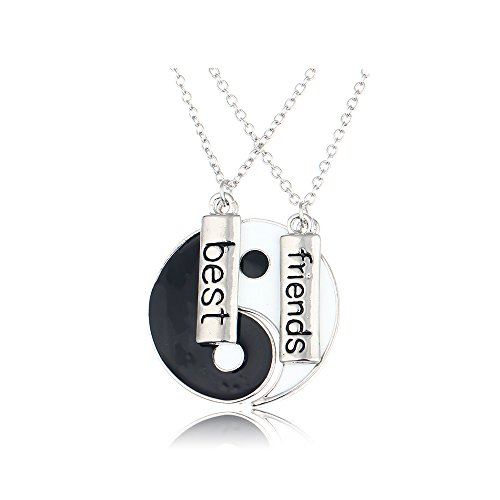 CHUYUN Silver Ying Yang BFF Pendant Friendship Necklace Gift for Friends