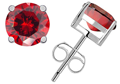 1.2 Ct Red Garnet Gemstone Birthstone 925 Sterling Silver Stud Earrings Solitaire Round 5mm For Women