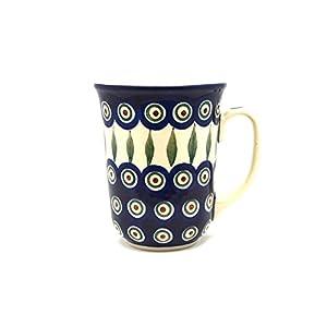 Polish Pottery Bistro Mug – 16 Oz – Peacock