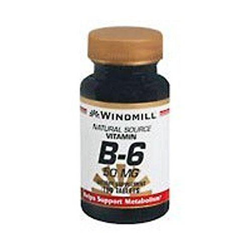 Windmill Vitamin B-6 50 mg Tablets 100 Tablets (Pack of 4)