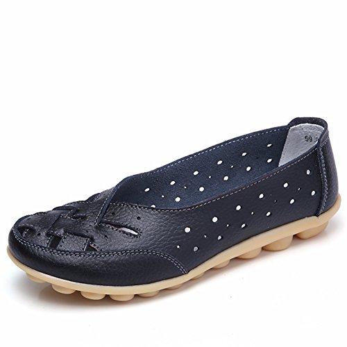 Mocassini Donna Panda Kelly Mocassini Casual Mocassini In Vera Pelle Slip-on Flat Driving Carving Shoes Black