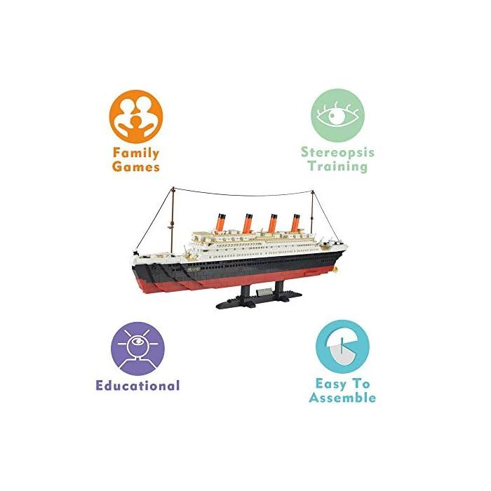 41aBWha%2BoyL Kit de bloques de construcción Titanic, contiene 1021 bloques de piezas. Enorme conjunto! Construye un proyecto espectacular en casa, compatible con las principales marcas. La instrucción detallada del color, tiene un tiempo buidling feliz.