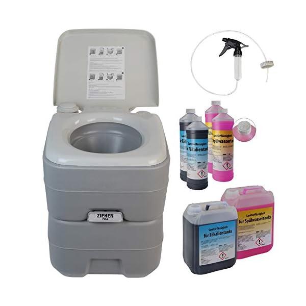 41aBWiMiSkL BB Sport Campingtoilette 20l - Optional: Sanitärflüssigkeiten und Reinigungsspritze tragbare Chemietoilette