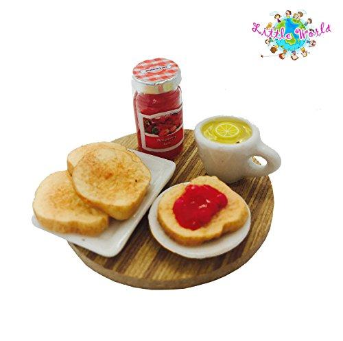Dollhouse Miniature Food: Breakfast Set [ Strawberry Yam, Toast And Lemon Tea], Little World Breakfast Set Collectibles, Size 1.38' [3.5 cm] diameter,,The same size as Barbie dollhouse. by Little World
