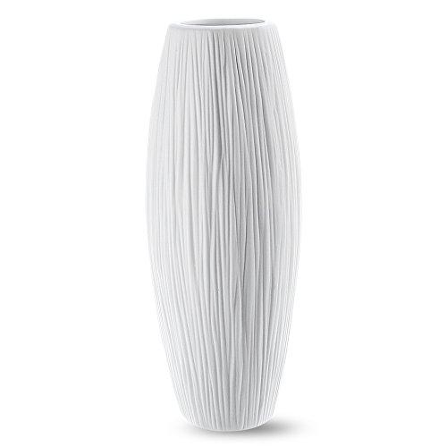 D'vine Dev 9 Inches White Ceramic Flower Vase - Waterfall Textured Elegant Design -