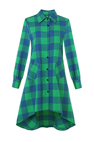 OLRAIN Womens New Plaids Irregular Hem Casual Shirt Dress (Small, GreenBL)