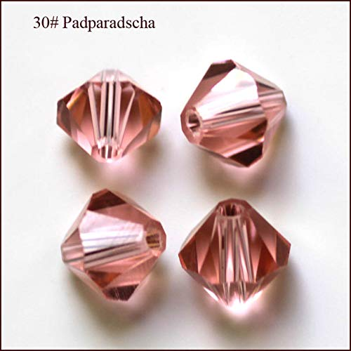 Calvas Wholesale Grade AAA 5301 5328 3mm 4mm 5mm 6mm 8mm 10mm 30 Color Crystal Bicone Beads 100pcs/Bag - (Color: padparadscha, Item Diameter: ()