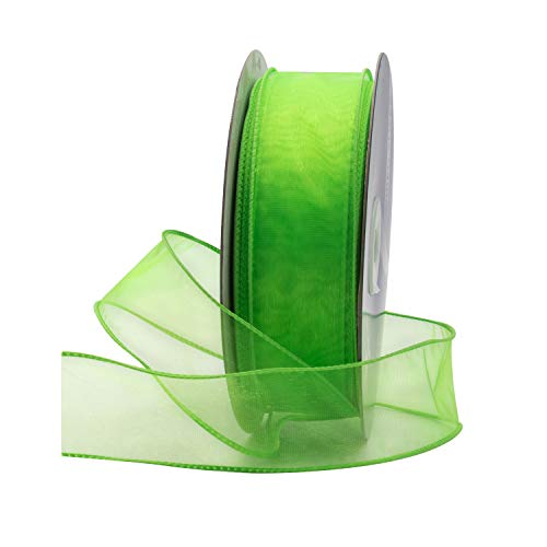 Lime Green Organza Wired Sheer Ribbon 1.5