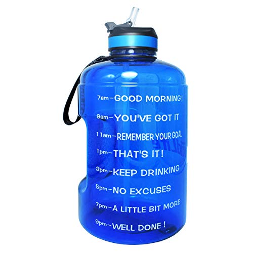 QuiFit Gallon Water Bottle with Straw and Motivational Time Marker BPA Free Easy Sipping 128/73/43 oz Large Reusable Sport Water Jug for Fitness and Outdoor Enthusiasts (Hot Blue,1 Gallon)