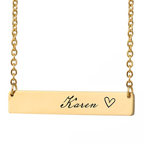HUAN XUN Karen Name Name Necklace Gold Bar Initial Necklace Personal Jewelry Birthday Valentine Gift
