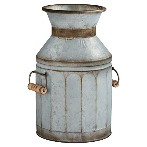Stone & Beam Vintage Rustic Farmhouse Galvanized Metal Milk Jug Home Decor Planter Vase - 12.75 Inches, Grey ()