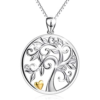 c98c5cea1 Tree of Life Orgone Heart Love Crystal Sterling Silver Pendant Necklace for  Women Christmas Family Tree