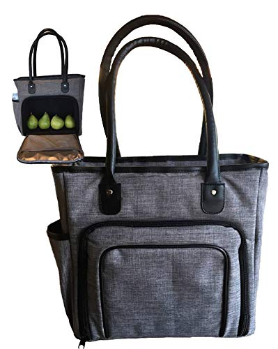 Lunch Totes for Women | Large Insulated Meal Prep Lunch-Box Bags | Fashionable Ladies Commuter Handbag Purse | Tote Fits Portion Pack Containers | Large Grey Bag Black Shoulder Strap