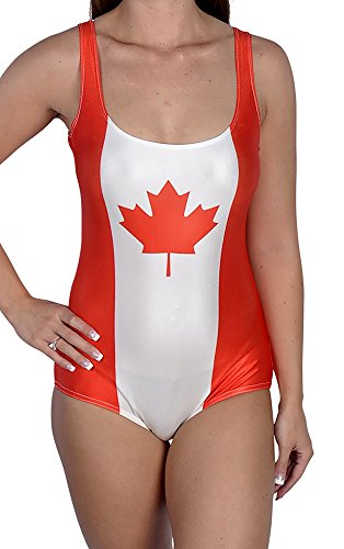 BadAssSwimsuits Women's Canadian Flag One Piece Swimsuit Medium by BadAssLeggings