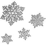 Fyore Cutting Dies 4 Pcs Christmas Snowflakes Metal Stencil Template Mould for DIY Scrapbooking Album Paper Card Embossing Craft Decoration (Snowflake)
