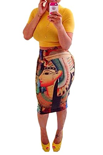 Women's Summer Outfits Bodycon Egypt Cleopatra Print 2 Pieces Skirt Set (Large, yellow) ()
