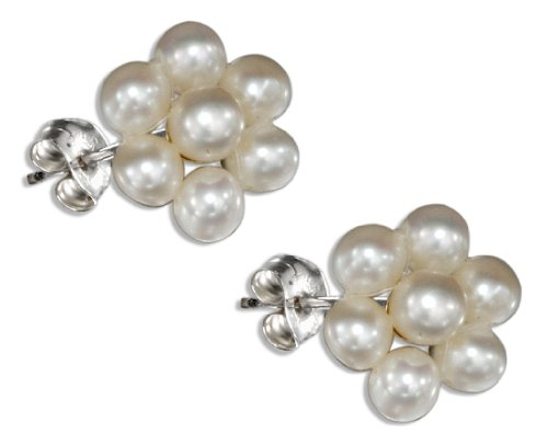 Sterling Silver Flower Cluster White Fresh Water Cultured Pearl Earrings