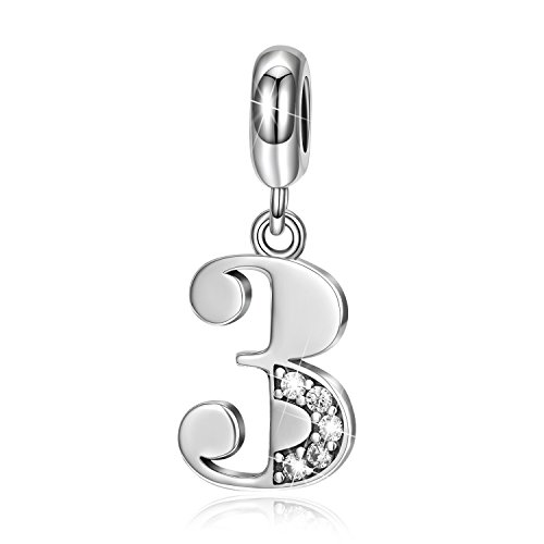 LONAGO Lucky Number 0-9 Charms 925 Sterling Silver Number Bead (Number 3)