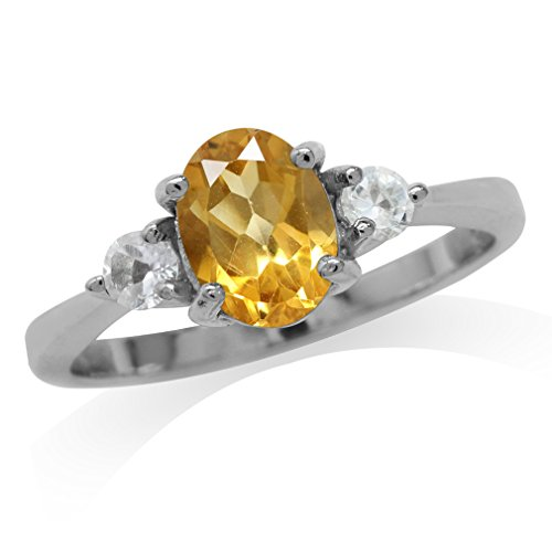 Clearance 1.08ct. Natural Citrine & White Topaz Gold Plated 925 Sterling Silver Engagement Ring