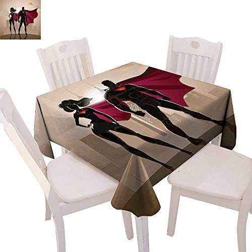 cobeDecor Superhero Patterned Tablecloth Super Woman and Man Heroes in City Solving Crime Hot Couple in Costume Dust-Proof Tablecloth 54