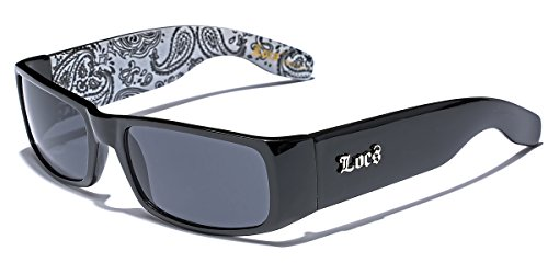 Locs Original Gangsta Shades Men's Hardcore Dark Lens Sunglasses with Bandana Print - Black & ()