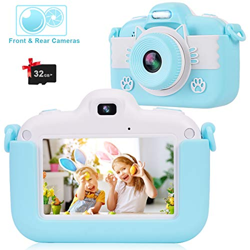 VICOODA Kids Camera, 3 Inch HD Touch Screen Digital Camera, Child Video Camcorder for 3-12 Year Old Boys Girls Toy Gifts, 1080P IPS Shockproof Rechargeable Selfie Camera with 32GB TF Card, Blue