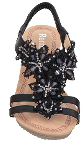 Sapphire Lace Sandals Womens Diamante by Wedge Shoes Black Insole Sapphire Floral Sling Boutique Sapphire Boutique Back Padded BSqExf4