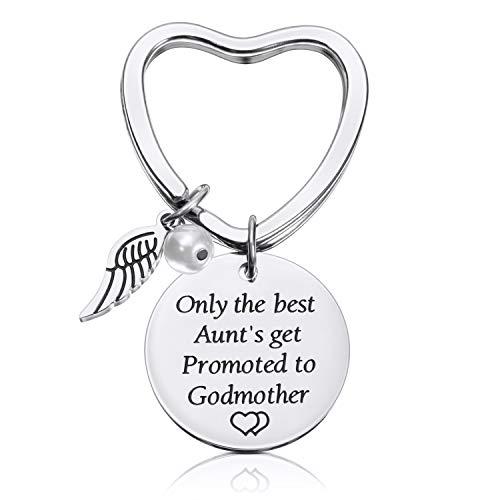 (Chuangdi Godmother Keychain Baptism Gift Aunt Jewelry Charm Key Chain Godmother Aunt Keychain (A))
