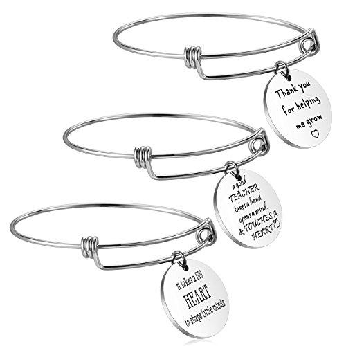 7af141de92 Hazado Teacher Appreciation Gifts for Women 3PCS Stainless Steel  Inspirational Bangle Bracelet for Teacher Thank You