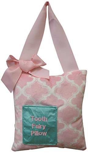 Caught Ya Lookin' Tooth Fairy Pillow, Pink Quatrefoil Minky, White from Caught Ya Lookin'